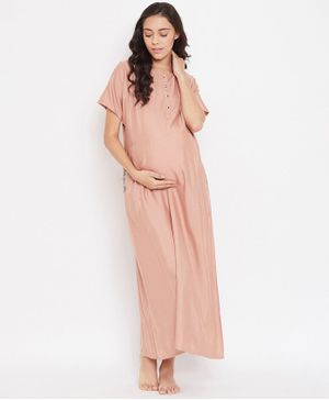 The Kaftan Company Half Sleeves Solid Maternity Nighty - Beige