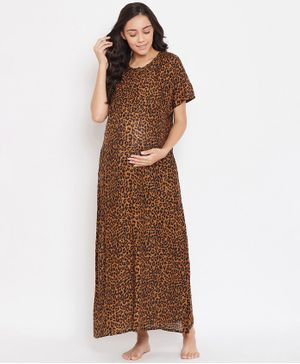 The Kaftan Company Half Sleeves Leopard Print Maternity Nighty - Brown