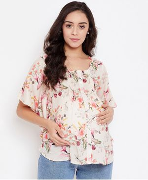 The Kaftan Company Half Sleeves Tulip Printed Maternity Top - Beige
