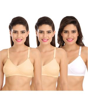 Sona Women's Maternity Bra Post Surgical Mastectomy Pack of 3 - Beige White