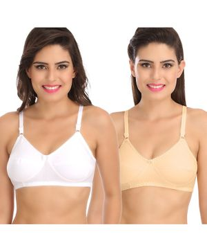 Sona Pack Of Two Women's Post Surgical Mastectomy Maternity Bra - Beige White