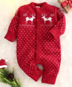 Babyhug Full Sleeves Organic Cotton Winter Wear Romper Reindeer Design - Red