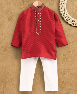 Ridokidz Full Sleeves Diamond Pattern Kurta With Pyjama - Maroon