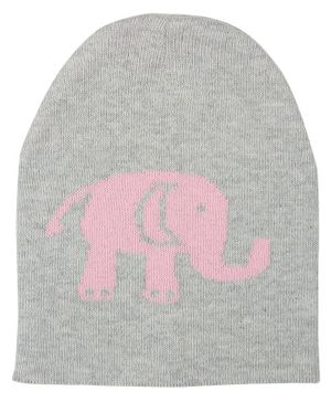 Pluchi Baby Elephant Design Knitted Cap - Grey & Pink
