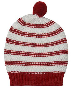 Pluchi Striped Knitted Cap - Red & White