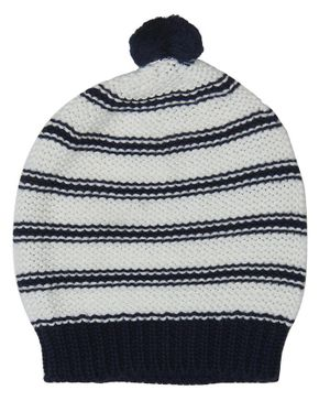 Pluchi Striped Knitted Cap - Navy Blue & White
