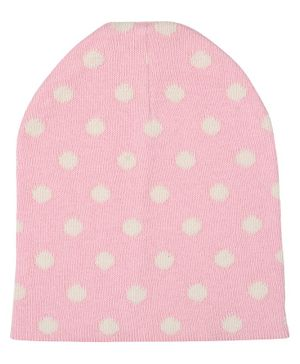 Pluchi Polka Dot Print Detailing Knitted Cap - Light Pink