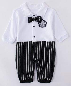 Kookie Kids Full Sleeves Striped Romper - Black