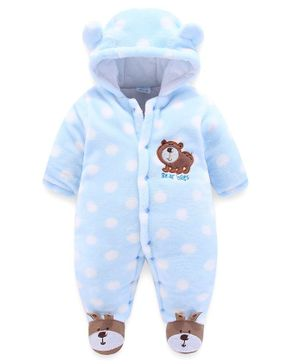 Kookie Kids Full Sleeves Winter Wear Sleepsuit Wild Bear Patch - Blue