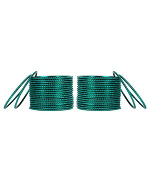 Arendelle Set Of 36 Traditional Shinning Metal Bangles - Green