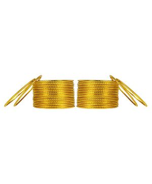Arendelle Set Of 36 Traditional Shinning Metal Bangles - Yellow