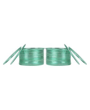 Arendelle Set Of 36 Traditional Shinning Metal Bangles - Mint Green
