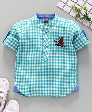 Babyhug Full Sleeves Linen Cotton Checked Shirt - Blue Green