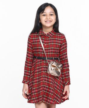 Pine Kids Full Sleeves Checkered Frock - Red