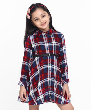 Pine Kids Full Sleeves Checkered Frock - Blue