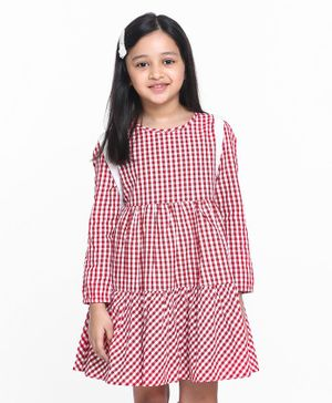Pine Kids Full Sleeves Checkered Frock - White Red