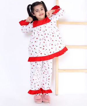 M'andy Full Sleeves Heart & Lipstick Print Night Suit - White
