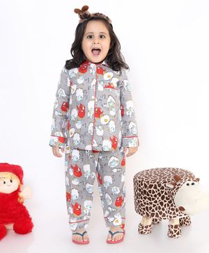 M'andy Full Sleeves Sheep Print Night Suit - Grey