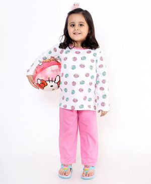 M'andy Full Sleeves Doughnut Print Night Suit - White