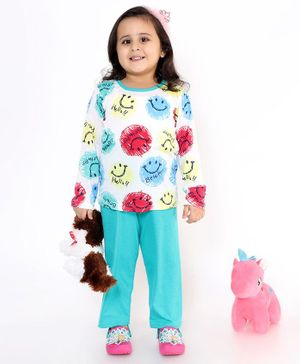 M'andy Full Sleeves Smiley Print Night Suit - White