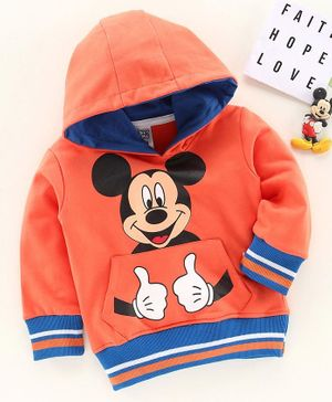 Babyhug Full Sleeves Hooded Sweatshirt Mickey Mouse Print - Red
