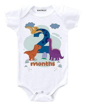 KNITROOT Short Sleeves Dinosaur 2 Months Printed Onesie  - White