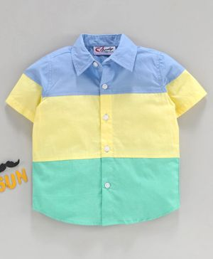 M'andy Color Block Half Sleeves Shirt - Multi Color