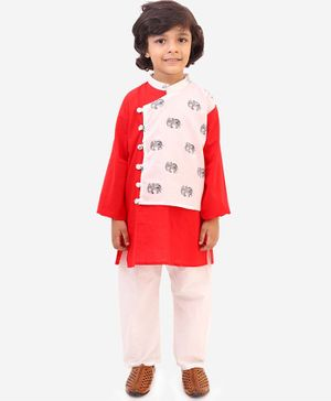 KID1 Front Pannel Full Sleeves Elephant Printed Kurta & Pyjama  - Red & White