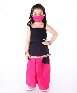 KID1 Sleeveless Strappy Top With Printed Pocket Palazzo & Face Mask - Black