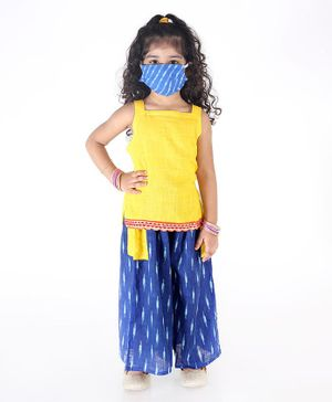 KID1 Strappy Sleeveless Top With Ikkat Printed Pocket Palazzo Face Mask & Free Potli Set  - Yellow