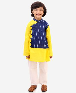 KID1 Full Sleeves Ikkat Printed Kurta & Pyjama Set  - Yellow & Blue