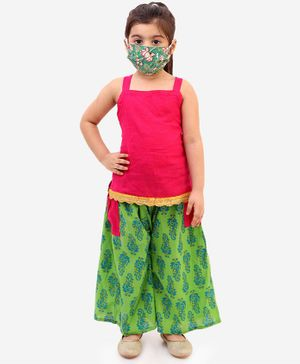 KID1 Strappy Sleeveless Top With Printed Palazzo Face Mask & Free Potli Set  - Pink