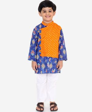 KID1 Flowers Printed Full Sleeves Kurta & Pyjama Set - Blue & Orange
