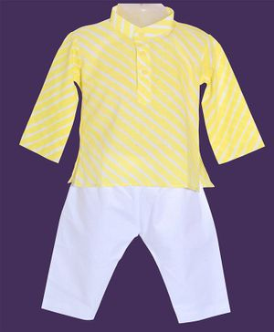 JAV Creations Laheriya Full Sleeves Kurta & Pyjama Set - Yellow & White