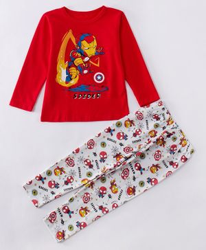 Kookie Kids Full Sleeves Night Suit Avengers Print - Red