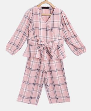Pspeaches Full Sleeves Checked Flared Hem Wrap Top & Trousers Set - Pink
