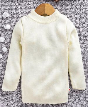 Yellow Apple Full Sleeves Winter Wear Tee - Cream