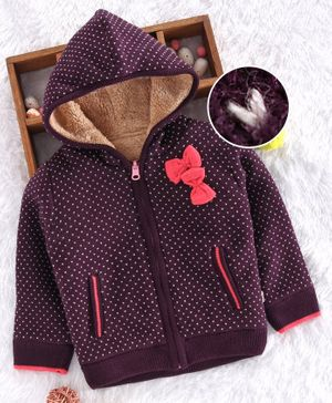 Yellow Apple Full Sleeves Hooded Sweater - Purple
