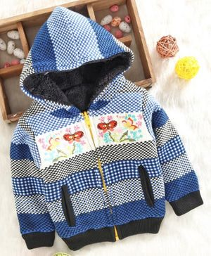 Yellow Apple Full Sleeves Reversible Hooded Sweater Butterfly Embroidery - Blue