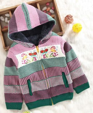 Yellow Apple Full Sleeves Reversible Hooded Sweater Butterfly Embroidery - Purple