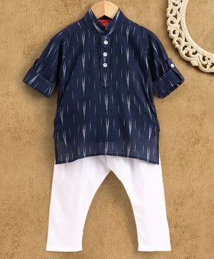 Ethnik's Neu-Ron Full Sleeves Printed Kurta with Pyjama - Navy Blue White
