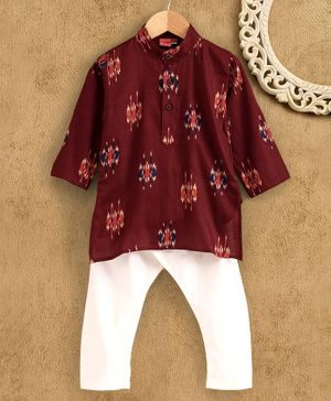 Ethnik's Neu-Ron Full Sleeves Printed Kurta with Pyjama - Maroon White