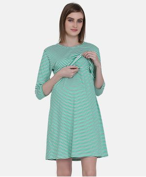 MAMMA PRESTO Three Fourth Sleeves Striped Feeding Nightwear Dress  - Green