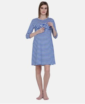 MAMMA PRESTO Three Fourth Sleeves Striped Feeding Nightwear Dress  - Navy Blue