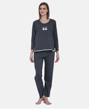MAMMA PRESTO Full Sleeves Sleepy Eyes Printed Feeding Night Suit Set - Dark Grey