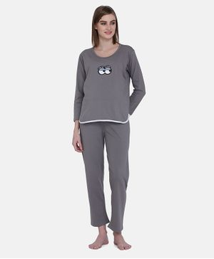 MAMMA PRESTO Full Sleeves Sleepy Eyes Printed Feeding Night Suit Set - Light  Grey