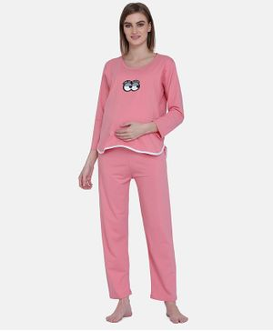 MAMMA PRESTO Full Sleeves Sleepy Eyes Printed Feeding Night Suit Set - Peach