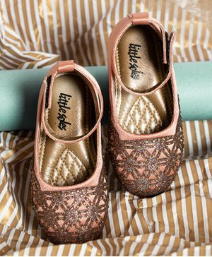 Little soles Satin Mary Jane With Hand Work - Rose Gold