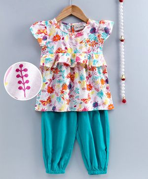 BownBee Ruffle Short Sleeves Flowers Printed Top With Pant Set - Blue & White