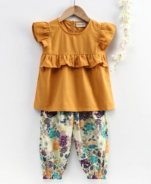 BownBee Ruffled Short Sleeves Top With Printed Pant - Yellow & White
